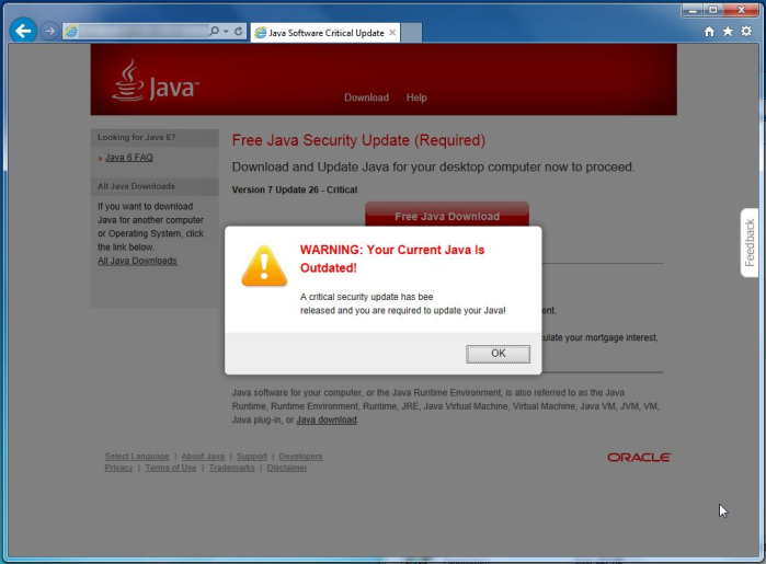 Java Software Critical Update Virus
