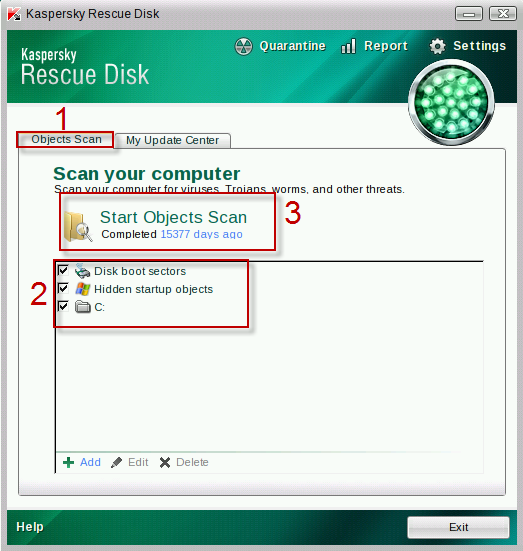 remove Switzerland Polizei Virus with kaspersky rescue disk