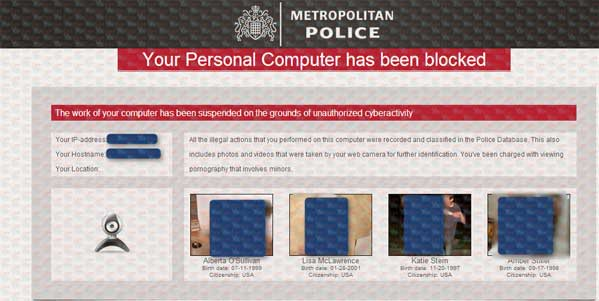 Metropolitan Police Your PC Has Been Blocked Virus