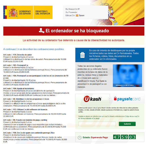 How to remove ministerio del interior espana virus and Gobierno de espana ministerio del interior