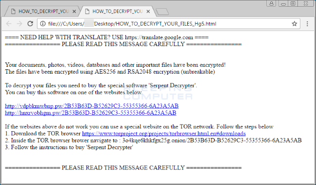 How to remove Serpent Ransomware and decrypt files