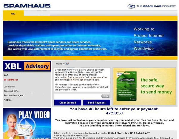 Spamhaus Block Moneypak Virus