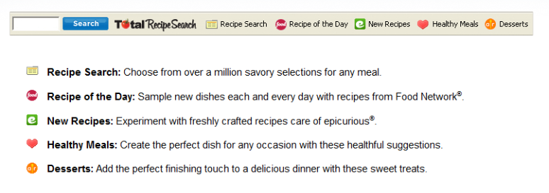 TotalRecipeSearch Toolbar