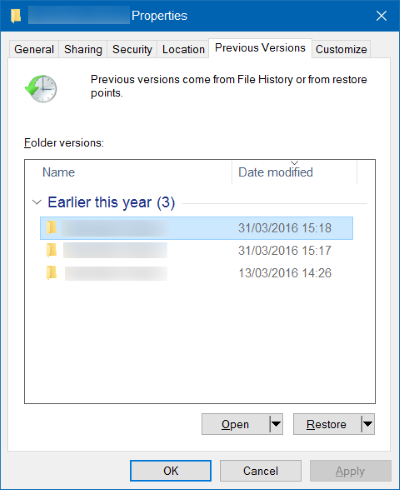 windows previous versions of files