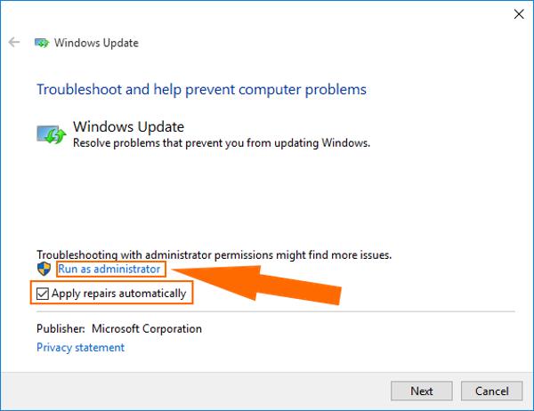windows 10 run troubleshooting as administrator