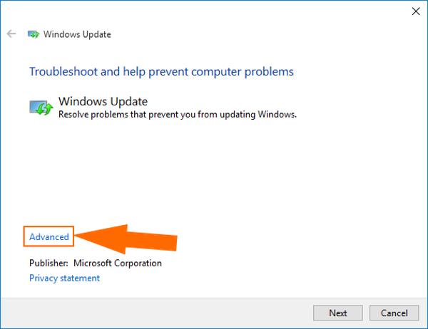 windows 10 troubleshoot windows update advanced settings