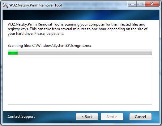 Netsky Removal Tool screen shot