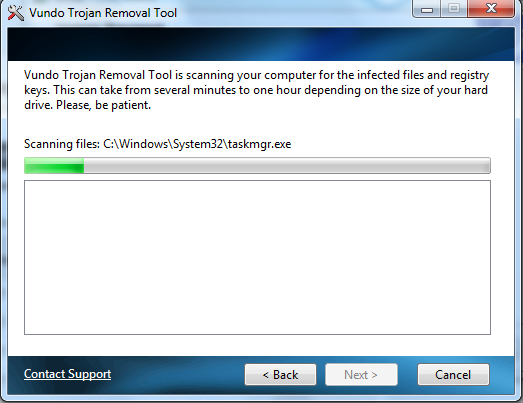 Vundo Removal Tool screen shot